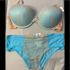 Gold & Turquoise Push-Up Bra & Hipsters Panty Set